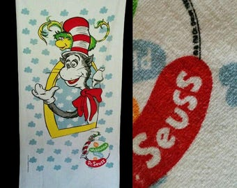 Vintage 90s Cat In The Hat Towel, 1990s Throwback Dr Suess Terry Beach Bath Towel, New
