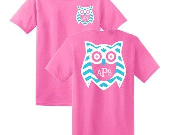 Owl Chevron Monogrammed T-shirt