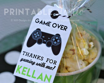 Video Game Thank You Tag with Black Controller - Printable Video Game Party Favor Tags by Printable Studio