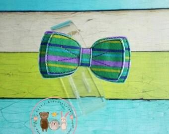 Felt Hair Bow - Felt Bowtie Hair Bow - Embroidered Bowtie Clip - Hair Clip - Hair Accessory - Girls Bows - Bowtie Ponytail Bow