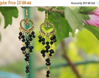 VALENTINE SALE 25% Heart earrings Valentines Day Gift chandelier earrings romantic gift Holiday gift bead chandeliers boho woman boho chic e