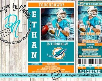 Miami Dolphins Football Invitation