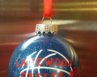 Personalized Shatterproof BASKETBALL Christmas Glitter Holiday Tree Ornament Balls Color Options