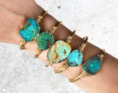 Genuine Natural Raw Turquoise Cuff Bracelet | Adjustable Cuff | Raw Stone | YOU CHOOSE CUFF