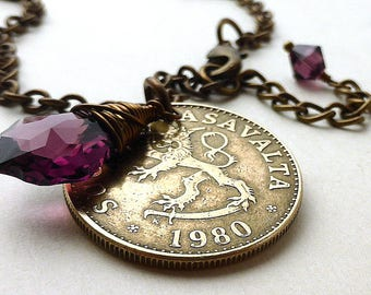 Coin necklace, Finnish necklace, February birthstone, Swarovski necklace, Amethyst pendant, Lion necklace, Vintage coin, Finland, Coin, 1980