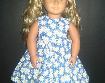Daisy doll dress, floral doll dress, daisy dress for doll, sleeveless doll dress, 18' doll dress, doll party dress, AG size doll dress