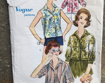 """Vintage Vogue Blouse Sewing Pattern -1961. No 5204. Size 18 Bust 38"""""""