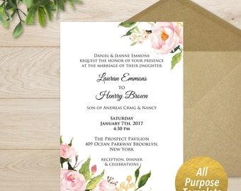 Burgundy Floral Wedding Invitation Template Printable 5x7