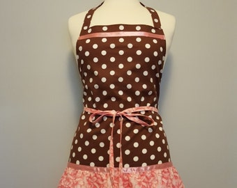 Polka dot Apron Womens Hostess Brown Pink
