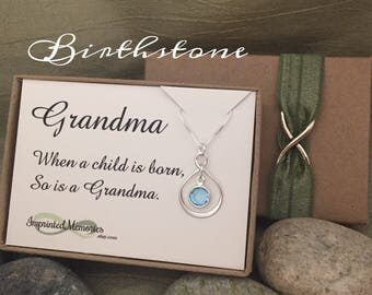 Pregnancy announcement Gifts for Grandma Necklace  When a child is born so is a Grandma First grandchild birthstone Necklace Sterling silver