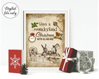 Digital Alice in Wonderland Christmas Print - Home,Decoration,Crafts,Party,Xmas,Holiday