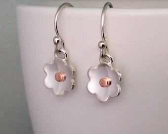 Silver flower earrings, sterling silver, silver earrings, everyday earrings, handmade, minimalist earrings, dangle earrings, gift for her