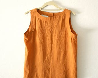 Vintage Orange Sleeveless Silk Top