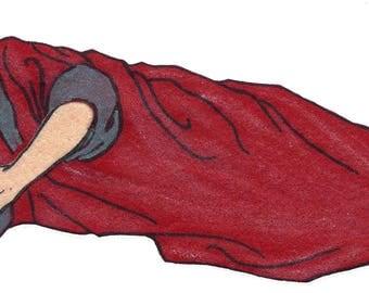 Vintage 1950's Sleeping Prophet Felt Board Applique 3-D Details 12 Inches Long