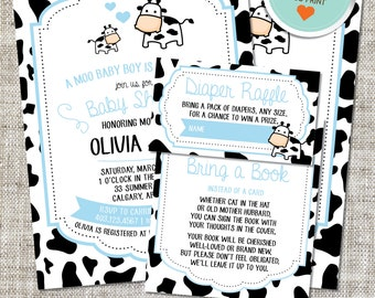 Cow Baby Shower Invitation, Cow Invitation, Cow, Blue, Black | DIY