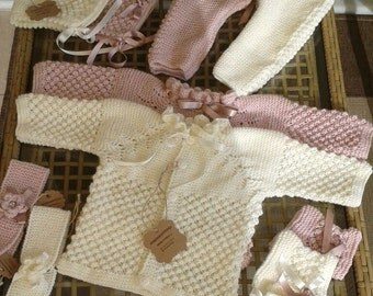 Hand knitted baby set , cardigan , tights pants , baby hat and booties , baby photo prop