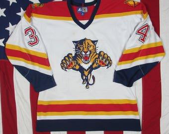Vintage 1990's Florida Panthers John Vanbiesbrouck #34 Hockey Jersey Medium Starter NHL Stanley Cup The Beezer VBK Red White Navy Blue