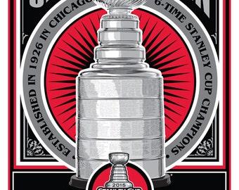 Chicago Blackhawks 2015 Stanley Cup Champions Handmade Limited Edition Sports Propaganda Screen Print / Serigraph