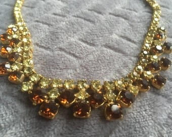 Vintage Simulated Yellow Topaz Crystal Bib Necklace/1950s/Wedding necklace/Cocktail Necklace