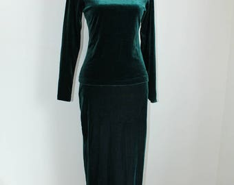 Dark Green Maxi Dress Set by Kim and Co, Medium Velour 80s Top Long Skirt