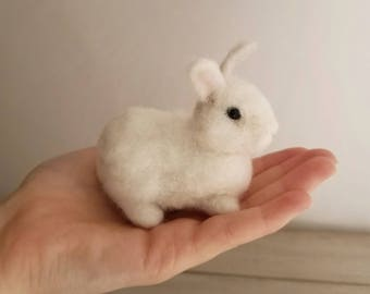 White Rabbit, Needle felted miniature bunny,  Rabbit lover gift, Needle felted rabbit,Needle felt Animal,Felted rabbits, white rabbit