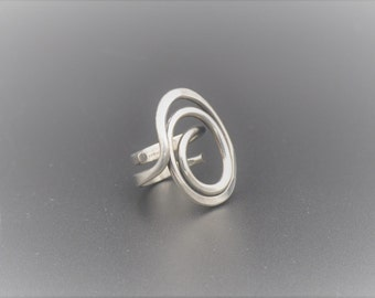 Anna Greta Eker Modernist Sterling Silver Ring Plus Studio Norway Scandinavian Jewelry 1960s