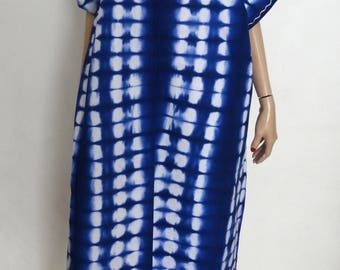 Djellaba Caftan Kaftan gandoura bleue tie and dye taille 38/40 - maxi dress uk 10/12 - us 6/8