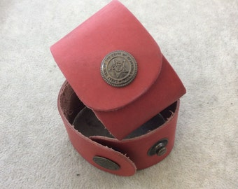 """1.5"""" Wide Rustic Red Genuine Leather Blank Cuff Bracelet with Oxidized Brass Snap Clasp - Measuring 38mm Wide x 222mm Long, Approx."""