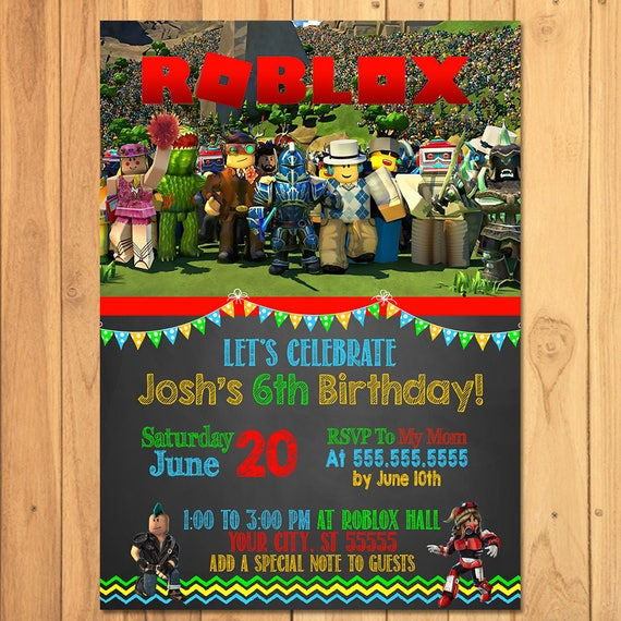 Roblox Invitation Chalkboard - Roblox Birthday Party - Roblox Party Printables - Roblox Invite - Roblox Party Favors - Roblox Video Game