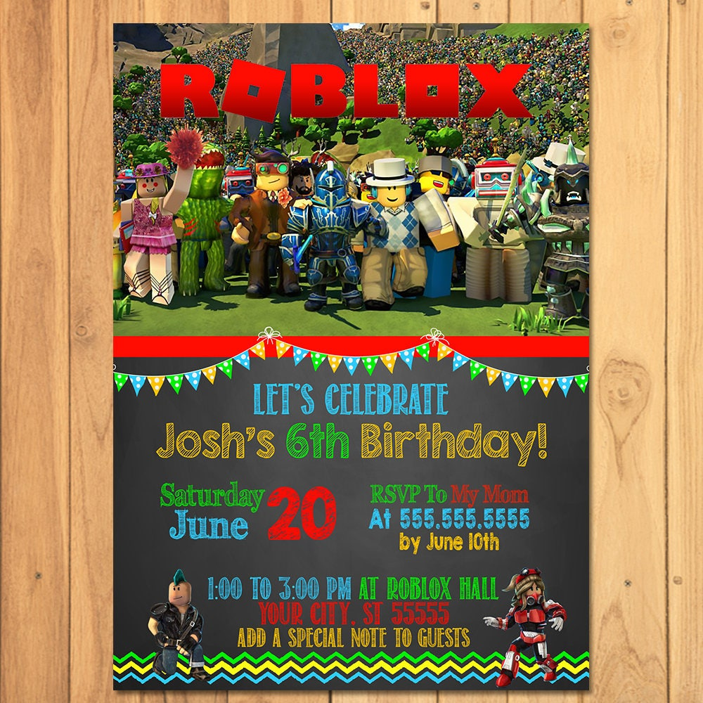 roblox invitation chalkboard roblox birthday party roblox