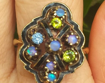Victorian Enamel Opal Peridot and Aquamarine Ring set in 14k Gold