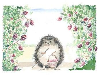 Hedgehog Print, Hedgehog, Nursery Art,
