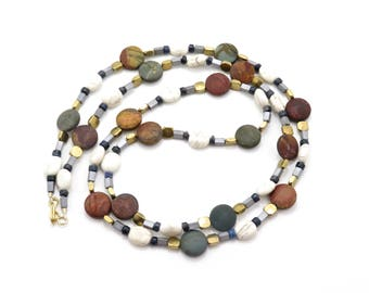 Long Beaded Necklace, Mixed Metals Long Necklace, Chunky Necklace, Multi Color Stones Necklace, Long Boho Necklace, Chunky Colorful Necklace