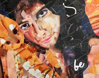 A Cat and His Girl - Print of original art work in magazine collage technique