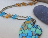 30% OFF-Salt in the Air Sand in My Hair - OOAK - Colorful Turquoise Heart Stone Pendant Necklace - Sea Glass - Beach Jewelry
