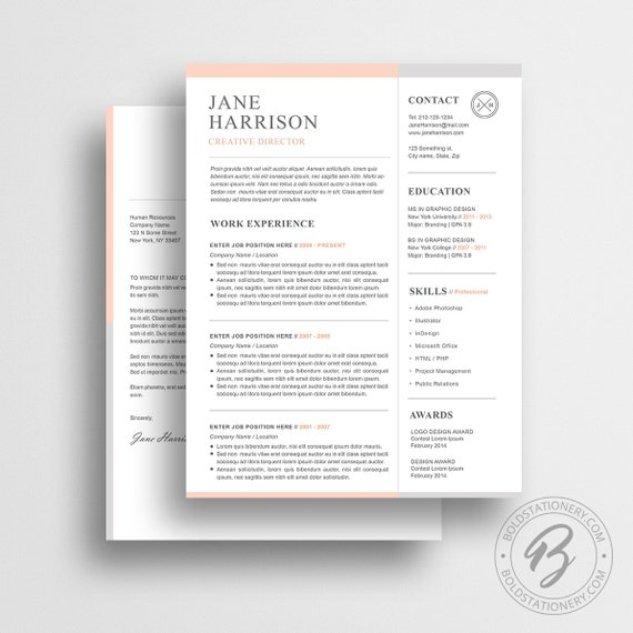Resume Template 32, CV Template + Cover Letter, Professional Resume Template, Reference Page, Microsoft Word Resume Template