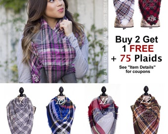 Blanket Scarf, gift for her, plaid scarf, fall scarf, monogrammed scarf, bridal wrap, evening ...