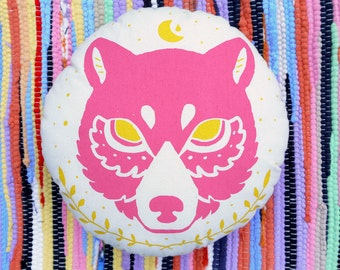 Midnight Pink Bear Cushion, Decorative Cushion, Handmade Printed Cushion, 35cm x 35cm, 100% Cotton with Polyester Filling