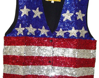 US Flag Sequin Vest #102-1