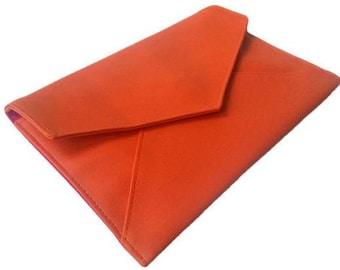 Pumpkin Orange Faux Vegan Leather Foldover Envelope Slimline Clutch Evening Bag with Magnetic Fastener