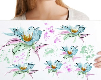 SALE -50% - Subtle Watercolor Flower Wall and Tile Tattoos, 13-Set 11x16 cm - Hand-Painted Elegant Wall, Tile and Furniture Decals