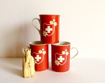 Mid Century Swiss Flag And Edelweiss Coffee Cups, 1960's Switzerland White Cross And National Flower Coffee Mug, Mid Century Porcelain Mugs