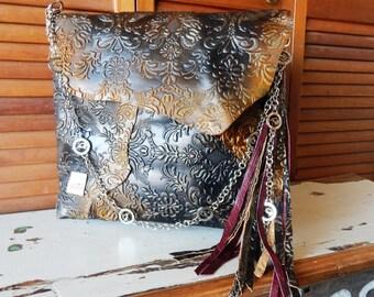 Large handmade one of a kind patchwork antiqued embossed leather messenger bag, leather tote, flight bag, overnight bag,