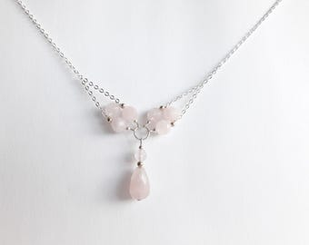 Rose Quartz Necklace // Rose Quartz Jewelry // Gemstone necklace // Mothers Day Gift // Bridesmaid necklace // pink beaded Necklace