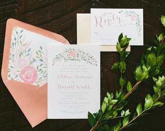 Adeline Painted Florals Wedding Invitation Suite