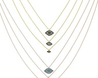 triple layered evil eye necklace, rose or gold vermeil, various colors zircons, 925 sterling silver