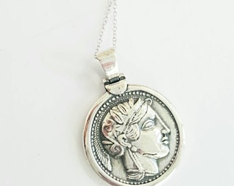antique silver greek goddess athens coin disc necklace, athens and owl symbol of wisdom, 925 sterling silver