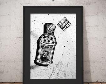 Spray can Graffiti Poster Print, New York City Art Print, Black & White Photography, NYC Digital Download, Street Printable Wall Art.