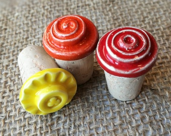 BOTTLE STOPPERS (ceramic and cork)