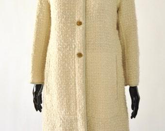 1960s • SILLS Bonnie Cashin cream tweed and grey leather trim coat